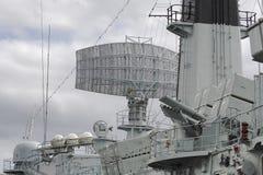Battleship radar. Close-up of a battleship Royalty Free Stock Photography