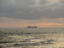 Battleship on the raid Stock Photography