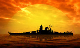 Battleship at sea. Against the setting sun Stock Image