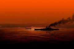Battleship at sea Royalty Free Stock Photos