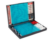 Battleship sea battle board game over white Stock Photography