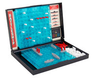 Battleship sea battle board game over white Stock Photos