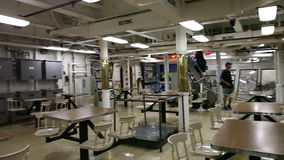 Battleship self service. HONOLULU, OAHU, HAWAII, USA - AUGUST 21, 2016: Panorama of self service in dining room for sailors and soldiers of Battleship Missouri stock video
