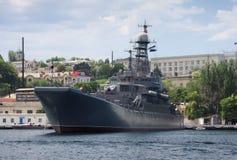 Battleship in Sevastopol stock photography