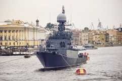 Battleship in St Petersburg Royalty Free Stock Image