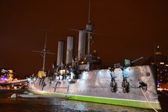 Battleship in St Petersburg at night Stock Photo