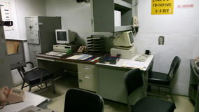 Battleship teletypewriters office. HONOLULU, OAHU, HAWAII, USA - AUGUST 21, 2016: big office panorama with computers and teletypewriters of Battleship Missouri stock video footage