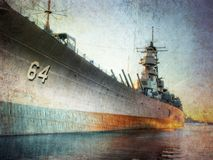 Battleship. The battleship USS Wisconsin at sunset in a textured image stock images