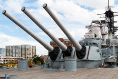 Battleship Wisconsin. (BB-64) in Norfolk Harbor, Virginia stock photography