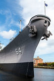 Battleship Wisconsin. (BB-64) in Norfolk Harbor, Virginia Stock Photography