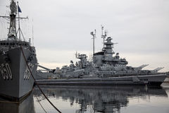 Battleships at Battleship Cove. Retired WWII battleship USS Massachusetts at Battleship Cove in Fall River, Massachusetts Stock Photo