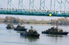 Battleships during the military parade Stock Photos