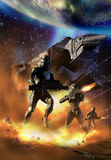 Battlestar. Several futuristic soldiers coming from a spaceship and answering to alien fire Stock Photos
