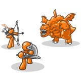 Battling the dragon. An illustration of a knight and an archer fighting an orange dragon on a white background Stock Images