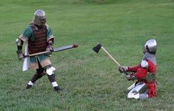 Battling Knights stock photo