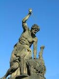 Battling Titan at the Gate of Prague Castle Stock Images