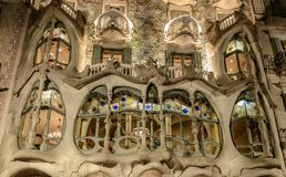 Batllo`s house facade in Barcelona , Catalonia, Spain. Batlló`s house facade in Barcelona.Casa Batlló is a building in the center of Barcelona. It was royalty free stock photos