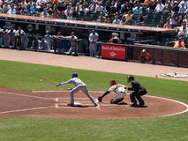 Battrer Cubs Starlin Castro swings wildly at pitch Royalty Free Stock Photo