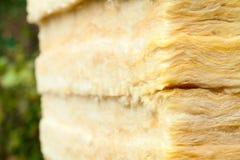 Batts termisk isolering för mineralisk ull närbild Arkivfoton