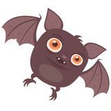 Batty. Vector cartoon illustration of a cute chubby Vampire Bat with big orange eyes. Great for Halloween Stock Photos