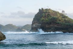 Batu Bengkung strand Malang Indonesien Royaltyfria Foton