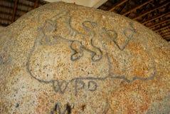 Batu Bersurat at Pangkor Island, Perak, Malaysia. Stock Photos