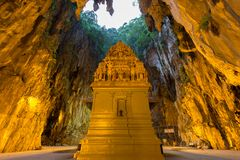 Batu Cave in the Morning. Batu Cave is a Hindu religious temple build into a limestone cavern in Kuala Lumpur Malaysia. This revered religious shrine is home to Stock Images