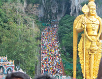 Batu Cave thaipusam 2011 series. BATU CAVE, MALAYSIA - January 20 : Crowd are marching up to the top of Batu Cave during Thaipusam at Batu Cave temple, Malaysia Royalty Free Stock Photos