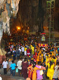 Batu Cave thaipusam 2011 series. BATU CAVE, MALAYSIA - January 20 : Crowd inside the cave of the Batu Cave temple, Malaysia during Thaipusam at on 20 January Royalty Free Stock Photography