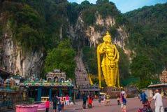 Batu Caves, gold statue Lord Murugan. Kuala Lumpur, Malaysia. Stock Photos