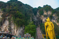 Batu Caves, gold statue Lord Murugan. Kuala Lumpur, Malaysia. Stock Photo