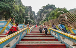 Batu Caves Kuala Lumpur,Malaysia. Kuala Lumpur,Malaysia - August 3, 2014:People can seen climbing up and down to the Batu Caves Kuala Lumpur Stock Photos