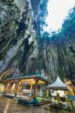 Batu Caves Kuala Lumpur Malaysia, scenic interior limestone cavern decorated with temples and Hindu shrines, travel destination in stock photos