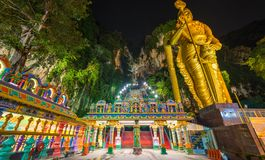 Batu Caves Kuala Lumpur Malaysia, scenic interior limestone cavern decorated with temples and Hindu shrines, travel destination in stock images