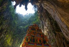 Batu Caves Kuala Lumpur Malaysia, scenic interior limestone cavern decorated with temples and Hindu shrines, travel destination in