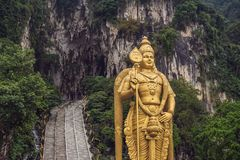 The Batu Caves Lord Murugan Statue and entrance near Kuala Lumpur Malaysia. A limestone outcrop located just north of royalty free stock photography