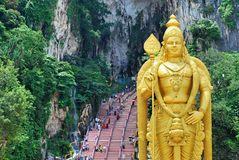 Batu Caves. Lord Murugan statue is the tallest statue of a Hindu deity in Malaysia, another master craft by sculptors from India. Lord Murugan statue is about 42 stock images