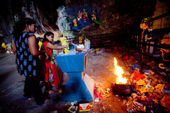 BATU CAVES, MALAYSIA - JAN 18 2014 : Thaipusam at Batu Caves tem Royalty Free Stock Images