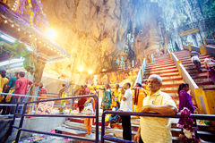 BATU CAVES, MALAYSIA - JAN 18 2014 : Thaipusam at Batu Caves tem Royalty Free Stock Images