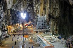 Interior Batu Caves, Malaysia. Batu Caves is a series of caves and cave temples in a limestone hill near Kuala Lumpur, Malaysia. It is a tourist attraction and royalty free stock photo