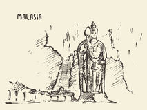 Batu Caves statue Malaysia drawn sketch. Stock Image