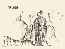 Batu foudroie le croquis dessiné par Malaisie de statue illustration stock
