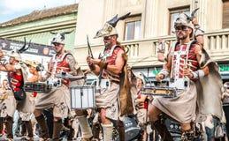 Batucada Villa Pipol band performing on Balcescu street, Sibiu, Romania
