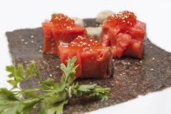 Batuffoli e prezzemolo di color salmone Fotografia Stock