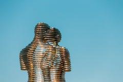 Batumi, Adjara, Geórgia Escultura movente do metal criada por Geórgia Fotografia de Stock Royalty Free