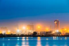 Batumi, Adjara, Georgia. Port Dock On Sunny Evening Or Night At Stock Photography
