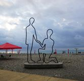 Batumi Beach Couple Statue royalty free stock images