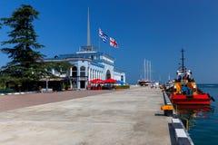 Batumi Flaga na miasto bulwarze zdjęcie royalty free