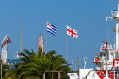 Batumi Flaga na miasto bulwarze fotografia royalty free