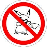 BATUMI, GEÓRGIA - 14 de julho de 2016 sinal proibitivo para os jogadores no pokemon aumentado do jogo da realidade ilustração do vetor
